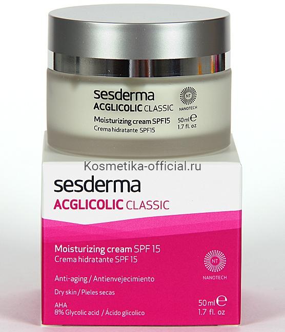Sesderma Acglicolic Classic Cream moisturizing (SPF 15) Крем увлажняющий (СПФ 15), 50 мл